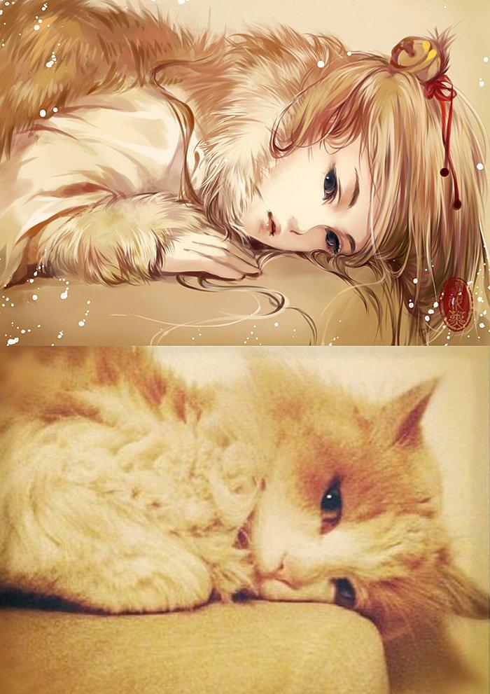 bc42c348726c65e604cb240b0623da1d-artist-draws-adorable-kittens-as-anime-girls